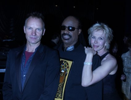 Sting, Stevie Wonder, Trudie Styler