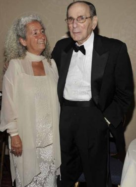 Accepting Woody Guthrie's Pioneer Award was daughter Nora, here with SHOF Chairman Emeritus Hal David