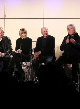 (left to right) Jeff Barry, Barry Mann, Cynthia Weil, Mike Stoller, Steve Tyrell and Janine Sharell