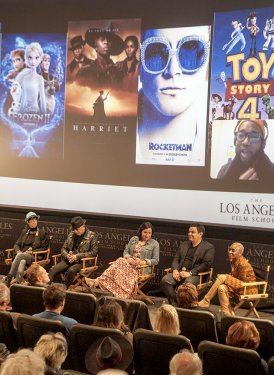 (left to right) - Variety's Jon Burlingame with host Paul Williams and Oscar Nominees Diane Warren, Bernie Taupin, Kristen Anderson-Lopez, Robert Lopez and Cynthia Erivo