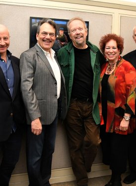 (left to right) NYU's Kevin Haden, Professor Larry Miller & Phil Galdston, Don Schlitz, SHOF East Coast Education Committee Chair Karen Sherry, NYU's Professor Robert Rowe and SHOF Board Member John Titta