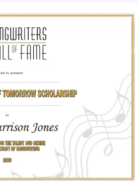 SHOF Songwriters of Tomorrow Scholarship Certificate