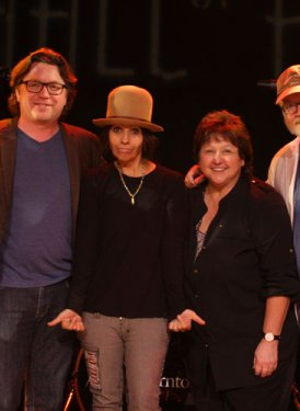 (L to R): SHOF West Coast Committee Member Barbara Cane, Vice Dean of Contemporary Music, USC's Chris Sampson, Linda Perry, SHOF Board Member and West Coast Committee Chair Mary Jo Mennella and SHOF West Coast Committee Member Randy Poe.